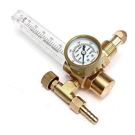 Rosa Lagarto reductor de presión Mig Tig soldadura de calibre medidor de flujo Control Válvula Regulador para gas CO2 Argon: Amazon.es: Electrónica