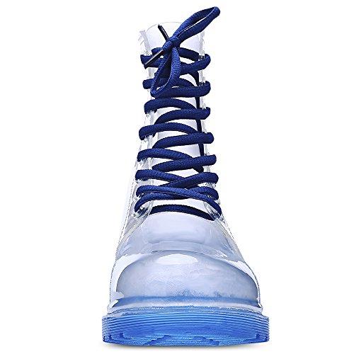 Moda Blu Skidproof Trasparente Stivali Pioggia Donna Mid alta Candy Colore gFAHgxr7