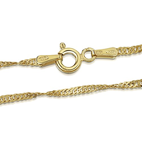 Overlay Plated Gold - Amberta 18K Gold Plated on 925 Sterling Silver 2 mm Singapore Chain Necklace Length 20