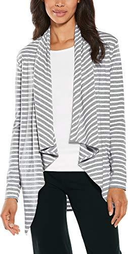 Coolibar UPF 50+ Women's Sun Wrap - Sun Protective (Large- Grey & White Stripe)