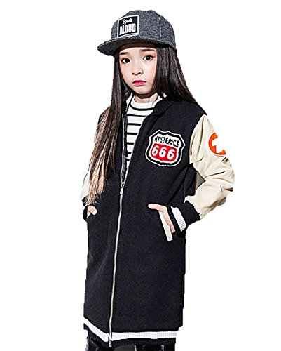 Blazer Chic Lemonkids;® Children Girls Woolen Jacket Blend Baseball Black Outwear qxPwZf