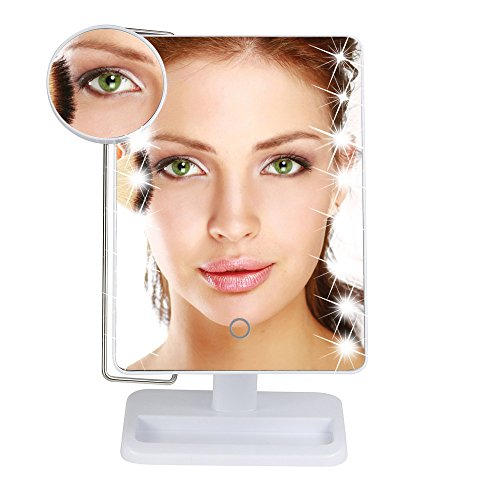 Ikevan_ Cosmetic Mirror, 10X Magnification Magnifier Adjustable Dimmable LED Illuminated Makeup Mirror -