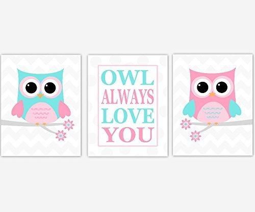 Baby Girl Nursery Wall Art Pink Aqua Blue Owl Always Love You Girl Bedroom Baby Nursery Decor SET OF 3 UNFRAMED PRINTS