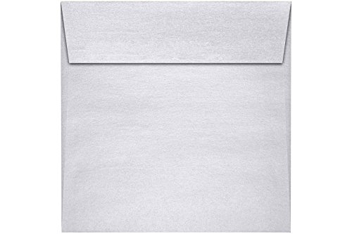 - 5 1/2 x 5 1/2 Square Envelopes w/Peel & Press - Silver Metallic (500 Qty.) | Perfect For Thank You Notes, RSVPs, Greeting Cards, Weddings or any Announcement | 80lb Text Paper | 8515-06-500