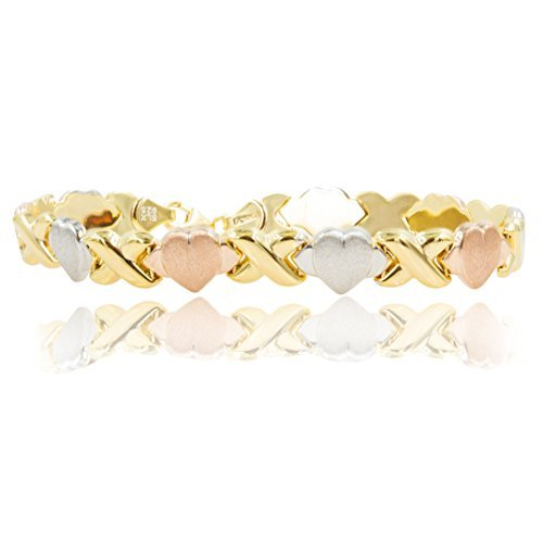 SilverLuxe 18 kt Gold Over Sterling Silver Hugs and Kisses XOXO Bracelet Tricolor 7 1/2