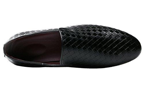 Santimon Heren Loafers Fashion Weave Dress Rijdende Flats Slip On Door Zwart Blauw Rood Wit Zwart