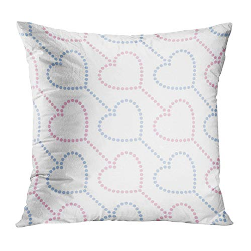 Throw Pillow Cover Colorful Family of Pink and Blue Hearts in Garlands Dotted Valentines Day Beads Love Decorative Pillow Case Home Decor Square 20x20 Inches Pillowcase ()