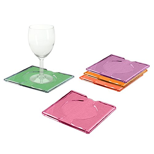 Acrylic Cocktail Coasters with Napkin Inserts to Catch Excess Water or Drips, Set of 4 with Stand. Great Gift Idea to a Host!
