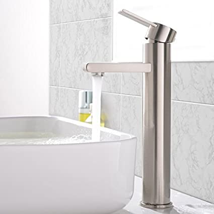 VCCUCINE Modern Commercial Brushed Nickel Tall Single Handle Bathroom Vessel  Sink Faucet, Laundry Vanity Sink