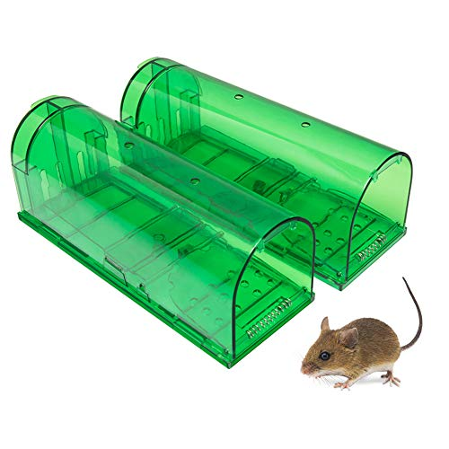 Large Size Humane Mouse Trap for Large and Small Rat/Mouse/Mole/Hamster/Rodent Traps Catcher Live Catch and Release No Kill, Kids & Pet Safe for Indoor/Outdoor- 2 Pack