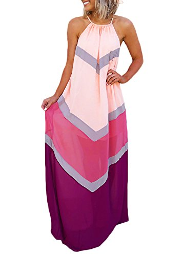 Joyfunear Women's Chiffon Halter Striped Color Patchwork Pleated Back Hollow Out Maxi Long Dresses Pink Purple ()