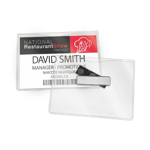 (GBC Magnetic Badge Holders, 3 Touch Point Magnet, for Horizontal 4 x 3-Inch Inserts, Clear, 6 Pack (3748103))