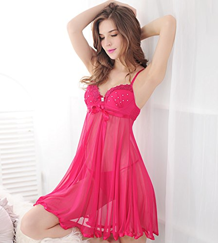 ZWC Sexy lingerie women's autumn perspective of thin steel plate chest pad strap nightdress temptation gathered hot drilling , passion rose , f (Nightdress Rose)