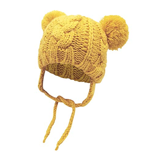 Baby Double Pom Pom Knitted Beanie Hat Earflaps,Crytech Toddler Kids Winter Warm Cute Chunky Thick Knit Ear Flap Cable Skull Snow Ski Cap with Pompom Ears and String for Boy Girl (Yellow)