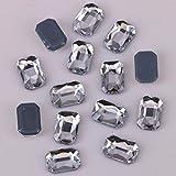 Pukido - Piedras brillantes AAA sin plomo, 3 x 5 mm, 4 x 6 mm, 5,5 x 8 mm, vidrio transparente con corte esmeralda y parte trasera plana, termoadhesivas, parte trasera plana, parte trasera plana, tamaño: 4 x 6 mm, número de piezas: 50 unidades