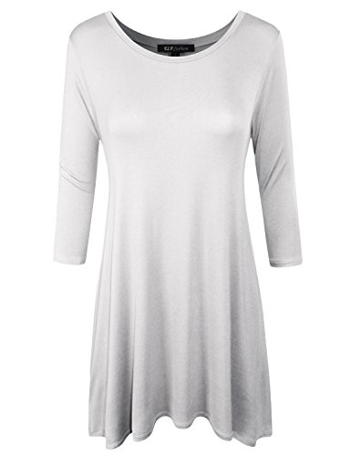 ELF FASHION Women Basic Round Neck 3/4 Sleeve A-line Loose Casual T Shirt Tunic Top OFFWHITE -