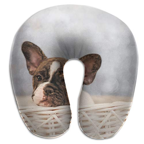 FULIHUA Small Basket Bulldog Close-ups U-Shaped Neck Pillow for Flight, Train, Car, Office Naps and People with Cervical Problems