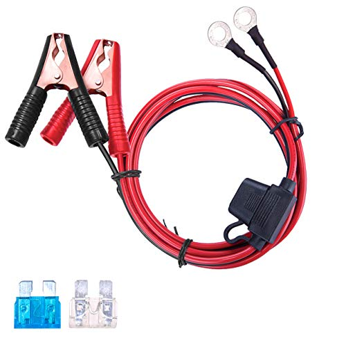 DEDC 13.1FT/4M 16AWG Extension Cord Eyelet Terminal with Battery Clamp 12V/ 24V Battery Clip-On for High-Power Inverter, Boat, RV Battery, Air Pump,Car Fridge and -