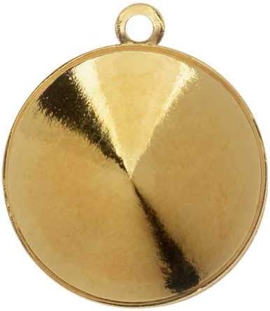Swarovski Ajuste Colgante de Piedra Cristal, se Adapta a # 1122 Rivoli 14 mm, 1 Pieza, Chapado en Oro