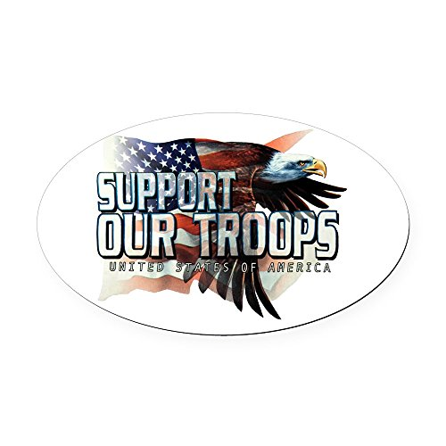 Oval Car Magnet Large Support Our Troops US Flag Eagle