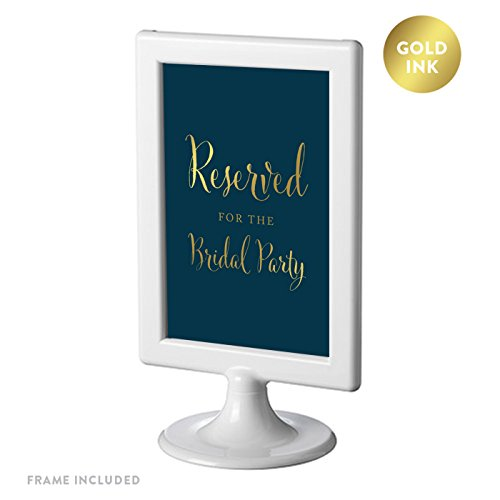 Andaz Press Framed Wedding Party Signs, Navy Blue with Metallic Gold Ink, 4x6-inch, Reserved for the Bridal Party, Double-Sided, 1-Pack
