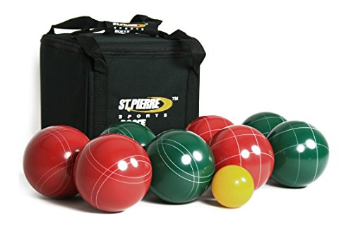 (St Pierre Sports Professional Bocce Set, Green/Maroon, 107mm)