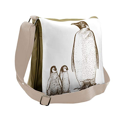 Ambesonne Animal Messenger Bag, King and Baby Penguin,