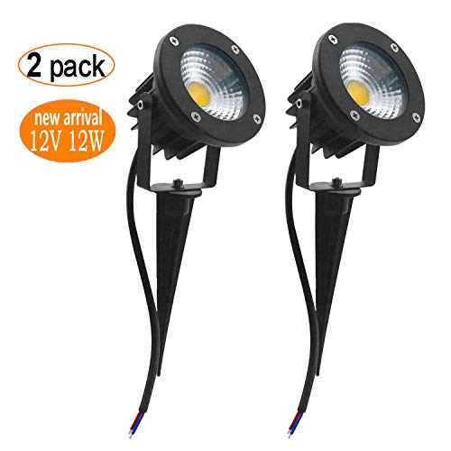 POMAR 2Pack 12W 12V 24V LED Landscape Spotlight low voltage transformer warm white Lighting Waterproof for Driveway,Outdoor Lawn Lighting,Flood, Garden,Yard by POMAR