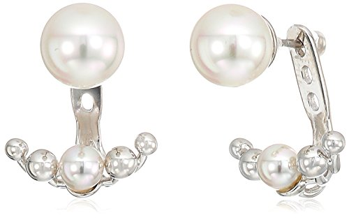 Majorica 5/8mm White Round Pearl On A Sterling Silver Earring Jacket by Majorica