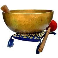 Cuenco tibetano del chakra RE de 28 cm para curación y meditación, cojín de canto, golpeador y baqueta incluidos