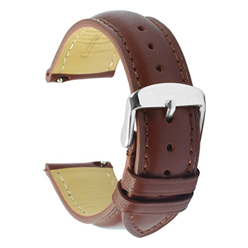(Quick Release Leather Watch Band 22mm Brown Replacement Watch Strap Genuine Polished Watch Clasp Buckle Gold Rose Padded Super Soft (18mm 20mm 22mm))