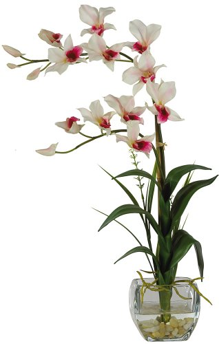 - Nearly Natural 1135-WH Dendrobium with Glass Vase Silk Flower Arrangement, White