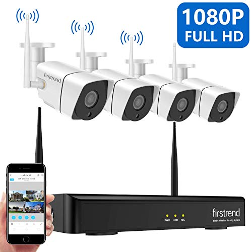 Security Camera System Wireless, Firstrend 8CH NVR Wireless Security Camera System with 4pcs 1080P Wireless Security Cameras Outdoors with 65ft Night Vision, No Hard Drive, Auto-Pair, Plug and Play