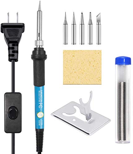 Soldering Iron Kit, [Upgraded] 60W Adjustable Temperature Welding Tool with ON-Off Switch, Rarlight 9-in-1 Soldering Kits, 5pcs Soldering Iron Tips, Solder Wire, Y Type Soldering Iron Stand (Blue)