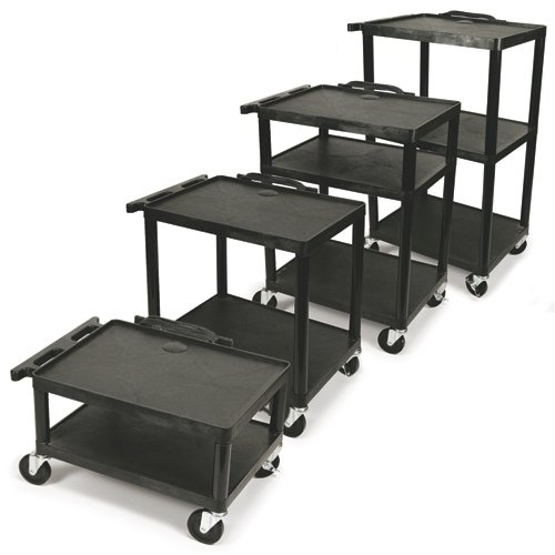 AVantage Plastic AV Cart Adjustable from 16'' to 42'' by The Library Store