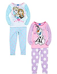 Disney Frozen Toddler Girls 4-Piece Long Sleeve Cotton Pajamas