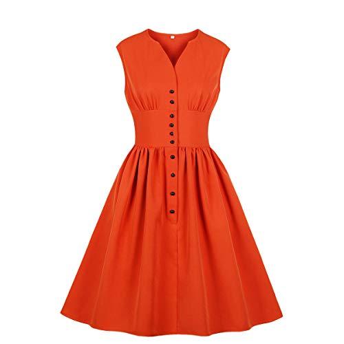 Wellwits Women's Slit Neck Button Down Tea Party 1940s Vintage Dress Orange 4XL (Plus Size Orange Dress)