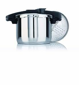 Fagor Chef Xtra 6L - Olla rápida acero inox, bipresión, de 6 litros, con cierre automático, salida de vapor en vertical a la campana