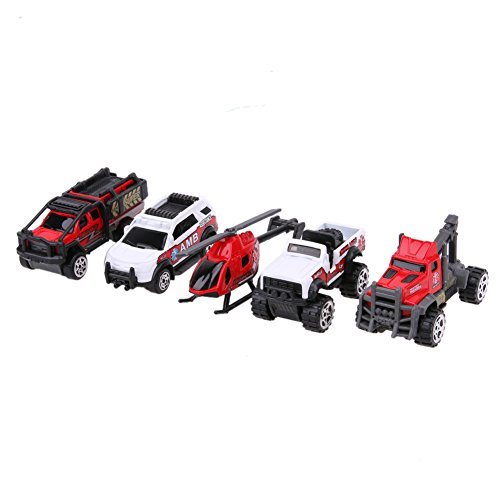 Vehicles Model Set - 5 Pieces/Set 1:64 Scale Ambulance Alloy Car Model Kids Children Car Truck Helicopter Toy Gift