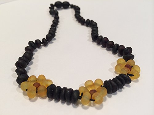 Raw Cherry Flower Lemon Cherry Baltic Amber Teething Necklace Pop Clasp 10.5-11 Inch for Infant, Baby Drooling & Teething Pain, Growing pains, Reduce Properties -Natural Certified Baroque Round by Baltic Essentials