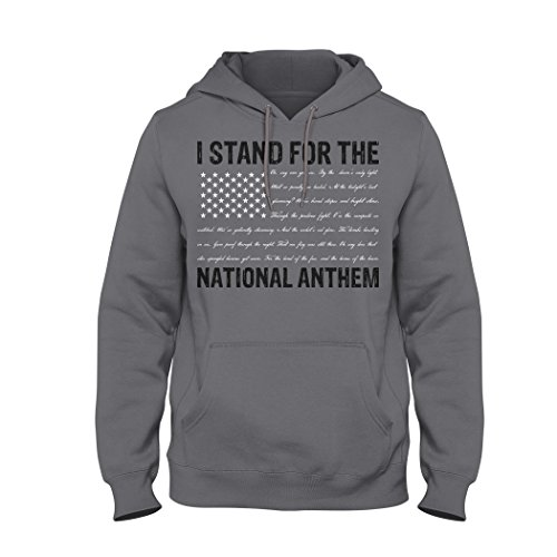 Bang Bang Apparel Men's I Stand For The National Anthem Pullover Hoodie With Anthem Written As The Stripes (Medium, Charcoal) (List Of Best National Anthems)