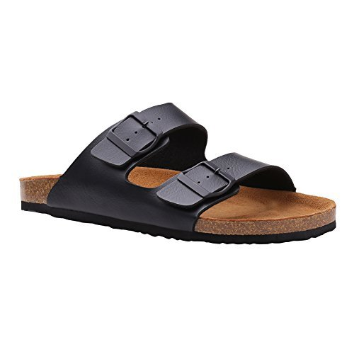 Sandals Comfort Slip On Flip Flops (EU 45, Pirate Black) (Cork Leather Flip Flops)
