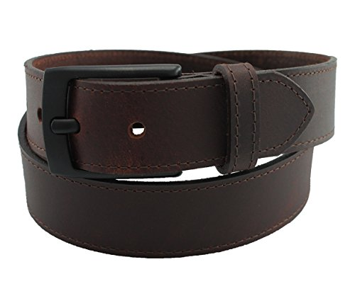 Highliner Made in USA Metal Free Travel Leather Belt by Thomas Bates (38, Brown)