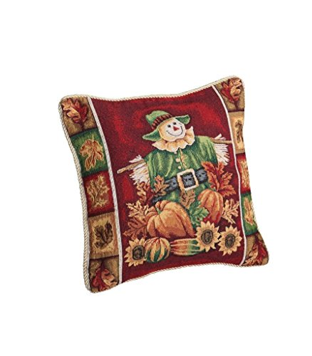 HomeCrate Fall Harvest Collection - Tapestry Scarecrow Pumpkins Autumn Leaves and Sunflowers Design 18