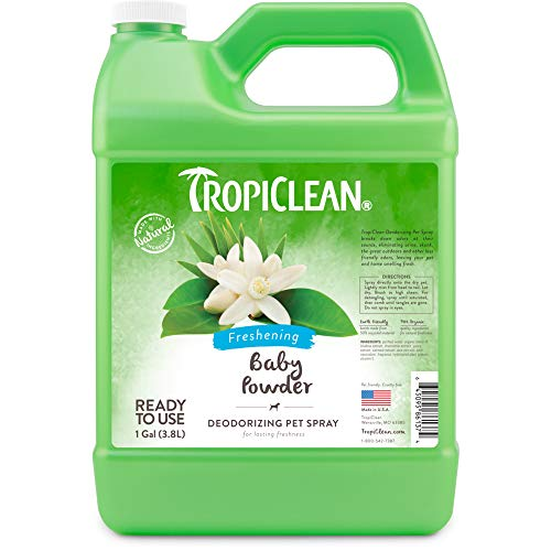 TropiClean Baby Powder Deodorizing Spray for Pets, 1 gal, Made in USA