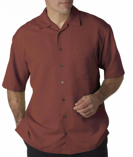 UltraClub Men's Cabana Breeze Camp Shirt (Brick, 2X-Large) (Shirts Woven Ultraclub)