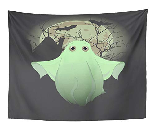 Emvency Tapestry Artwork Wall Hanging Orange Artworks Halloween of Cute Ghost Bat Boo Cartoon Character Clip Clipart 60x80 Inches Tapestries Mattress Tablecloth Curtain Home Decor Print