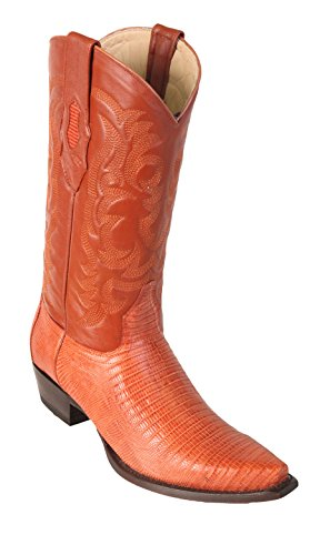 Men's Snip Toe Cognac Genuine Leather Teju Lizard Skin Western Boots - Exotic Skin Boots