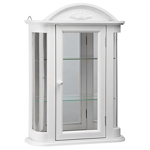 Design Toscano Rosedale Wall Curio Cabinet, Lily White (With Curio Curved Cabinet Glass)