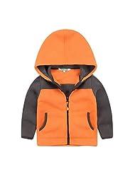 Little Girls Boys Kids Outdoor Fashion Stitching Color Warm Outwear Coat Front Zipper Single Jacket Size 8 Orange
